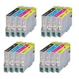 Lot De 16 Cartouches D'encre Compatibles (4bk+4c+4m+4y) Pour Epson Stylus Sx 218 Sx 515w Sx 510w Sx 115 Sx 200 Sx 400 Sx 105 Sx 415 Sx 215 Sx 205 Sx 410 Sx 600fw Sx 100 Sx 405