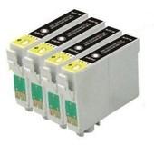 T0711 - 4 Cartouches D'encre Compatibles - Noir Pour Epson Stylus Sx218 Sx515w Sx510w Sx115 Sx200 Sx400 Sx105 Sx415 Sx215 Sx205 Sx410 Sx600fw Sx100 Sx405 Sx110 S21 Sx210 Sx610fw S20 Wifi Dx7450 Dx8400