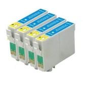 T0712 - 4 Cartouches D'encre Compatibles - Cyan Pour Epson Stylus Sx218 Sx515w Sx510w Sx115 Sx200 Sx400 Sx105 Sx415 Sx215 Sx205 Sx410 Sx600fw Sx100 Sx405 Sx110 S21 Sx210 Sx610fw S20 Wifi Dx7450 Dx8400