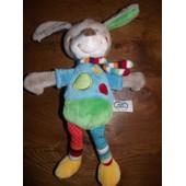 Doudou Peluche Lapin Li�vre Bunny Rabbit Hase Chien Hund Dog Mots D'enfants Leclerc Siplec Gris Vert Bleu Orange Nicotoy