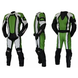 Kc209 Combinaison Moto Piste Circuit 1 Pi�ce Karno Cuir Vert Green-Angel
