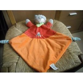 Doudou Plat Chat Orange Et Rouge Mots D'enfants