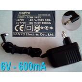 Transformateur Sanyo 6cv905xe / Den411403 (6v-600ma) Ac/Dc