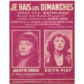 je hais les dimanches / édition originale 1951, piano et chant / édith piaf, juliette gréco