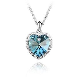 Collier Titanic Le Coeur De L'oc�an - Cristal - Bleu Lagon