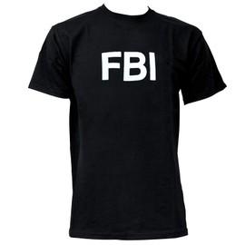 Tee Shirt Noir Col Rond Et Manches Courtes Imprime Fbi Miltec 11060002 Airsoft Federaux Americains