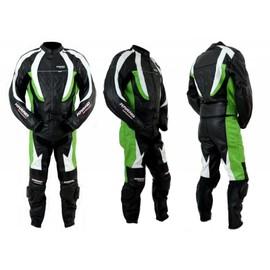 Kc200 Combinaison Moto Karno Cuir Vert Green-Storm Race - 2 Parties