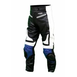 Kc301 Pantalon Moto Quad Racing Cuir Noir Et Bleu Karno - Sliders Inclus