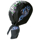 Bandana Foulard Biker Bitch Moto Skull Fleur Hells Angels Paintball