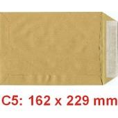 500 Pochettes ( Enveloppes ) Papier Kraft C5 162x229mm Sans Fenetre