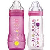 Lot De 2 Biberons Mam Anti-Colique 330ml Cirque Rose (6m+)
