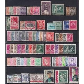 Lot de 75 timbres différents oblitérés -  Belgique -  années de 1915 à 1968