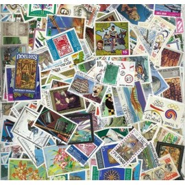 Lot de 200 timbres du monde entier sans aucun double