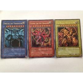 Lot - Les 3 Divine Beast - Slifer Obelisk Ra - Yu Gi Oh! - Anglais - Promo GBI 001/002/003 - UR