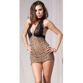 Nuisette Lingerie Sexy Leopard Cougar + String Leopard