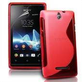 Housse Etui Coque Silicone Gel Rouge Pour Sony Xperia E / E Dual + Film �cran