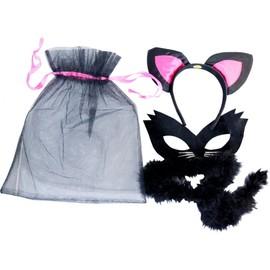 Loup Chat Noir Avec Serre Tete Et Queue Marabout