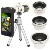 Set 12X Zoom Telescope +Wide Angle Macro+ Fish Eye Lens for iPhone 4 4G 4S DC311-PM1