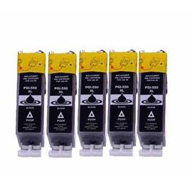5 X Compatible Cartouches D'encres Canon Pgi550 Pgi-550 Pgi550 - Noir Avec Puce - Pour Canon