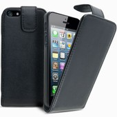 Etui Iphone 5 5s Housse Coque Pochette En Simili Cuir Rabattable � Rabat Clapet Haute Qualit� Couleur Noir + Film D'�cran