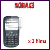 Films �cran Nokia C3 : Lot / Pack De 3x Films De Protection D'�cran Clear Transparent Excellente Qualit�
