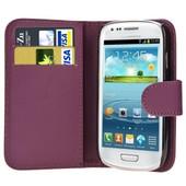 Samsung Galaxy S3 Mini I8190 : Etui Portefeuille Housse Coque Pochette En Cuir Pu Format Livre Horizontale Emplacement Cartes Couleur Violet + Film D'�cran