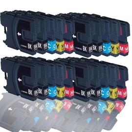 20 Cartouches D'encres Compatible Pour Brother Lc980 , Lc1100 Brother Mfc-250c Mfc-255cw Mfc-290c Mfc-295cn Mfc-297c Mfc-490cn Mfc-5490cn Mfc-5890cn Mfc-790cw Mfc-795cw (Bk,C,Y,M)