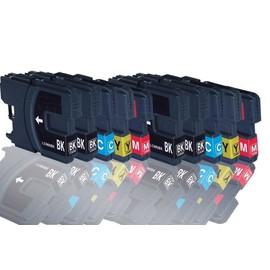 10x Cartouches D'encres Compatible Pour Brother Lc980 , Lc1100 Brother Mfc-250c Mfc-255cw Mfc-290c Mfc-295cn Mfc-297c Mfc-490cn Mfc-5490cn Mfc-5890cn Mfc-790cw Mfc-795cw (Bk,C,Y,M)