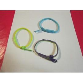 lot de 3 bracelet zip fermeture eclair multicolore neuf