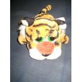 Doudou Peluche Tigre Gros Yeux Verts Allong� Tuffley 15 Cm