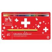 Caran D'ache Crayons De Couleur Swisscolor, �tui M�tal De 40
