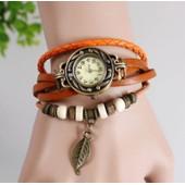 Montre Bracelet Femme / Fille R�tro / Vintage Cuir Perles, Feuille Et Breloque