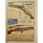 Publicit� Ancienne (Septembre 1957) Pour Le Fusil Simplex Calibre 10, 12 Et 14 Et La Carabine Reina 22 Lr 8 Coups
