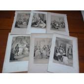 Xix�me-Lot De 6 Lithographies A 2 Tons - Les Veillees Du Chateau