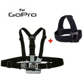 Fixation Harnais + Bandeau T�te pour cam�ra Gopro Hero (PACK)
