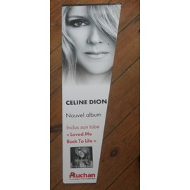 ULTRA RARE PLV CARTONNEE A SUSPENDRE 18X60CM CELINE DION LOVED ME BACK TO LIFE IMPRIMEE RECTO VERSO