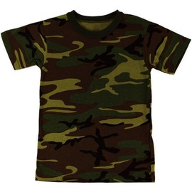 Tee Shirt Camo Camouflage Woodland Col Rond Et Manches Courtes Miltec 11012020 Airsoft