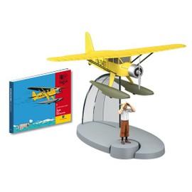 Figurine Tintin Avec Avion Hydravion En Metal + Livret