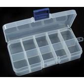 Boite De Rangement En Plastique Transparent 15 Compartiments 17.5x10x2.2cm (Lxlxh)