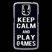 Coque Samsung Galaxy Mega Keep Calm Play Games Noir
