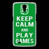 Coque Samsung Galaxy Mega Keep Calm Play Games Vert