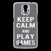 Coque Samsung Galaxy Mega Keep Calm Play Games Gris