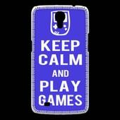 Coque Samsung Galaxy Mega Keep Calm Play Games Bleu