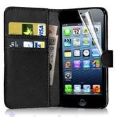 Apple Iphone 5 5s : Etui Portefeuille Housse Coque Pochette Book En Cuir Pu Format Livre Horizontale Emplacement Cartes Couleur Noir + Film D'�cran