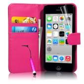 Apple Iphone 5c : Etui Portefeuille Housse Coque Pochette Book En Cuir Pu Format Livre Horizontale Emplacement Cartes Couleur Rose + Film D'�cran+ 1 Stylet Tactile