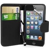 Apple Iphone 5c : Etui Portefeuille Housse Coque Pochette Book En Cuir Pu Format Livre Horizontale Emplacement Cartes Couleur Noir + Film D'�cran+ 1 Stylet Tactile