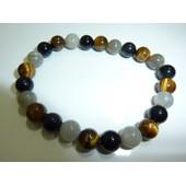 Bracelet Protection Extreme Oeil De Tigre-Obsidienne Oeil Celeste-Labradorite 8m