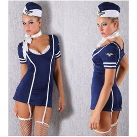 Costume Hotesse De L'air Sexy Steward Taille T. Unique