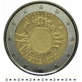 Pi�ce 2euros Com Lux 2012 � 10�me Anniversaire Des Billets Et Des Pi�ces En Euros.