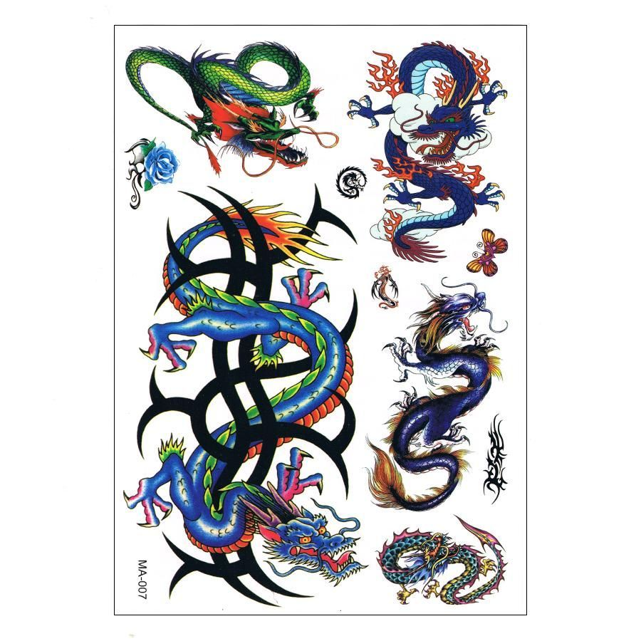 Planche De Tatouages Tattoo Temporaire Body Art Dragons Ma 007